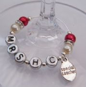 Special Teacher Personalised Wine Glass Charm - Elegance Style